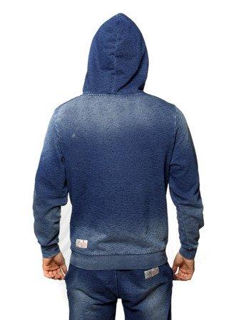 """LEONE - BLUZA Z KAPTUREM """"jeans"""" S [LSM1524_niebieska]"""