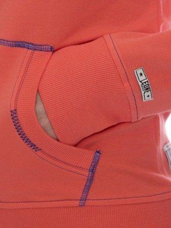 LEONE damska bluza na zamek z kapturem koralowy S [LW1750]